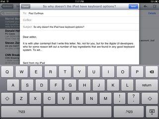 iPad virtual keyboard
