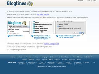 Bloglines to flatline this October