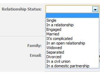 Facebook relationship status updated