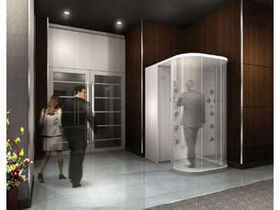 Human air shower blasts grime clean away
