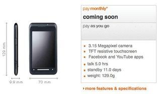 Orange lets slip the TG01 on its site