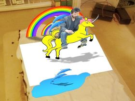 AR cake features Keanu riding a unicorn